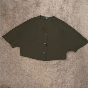 Green batwing blouse